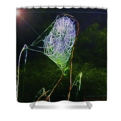 Shower Curtain featuring the photograph Electric Web In The Fog by EricaMaxine  Price