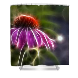 Shower Curtain featuring the photograph Electrified Coneflower by Lynne Jenkins