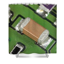 Electronics Board With Lead Solder Shower Curtain by Ted Kinsman