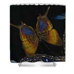 Shower Curtain featuring the painting Elena Yakubovich - Butterfly 2x2 Top Left Corner by Elena Yakubovich