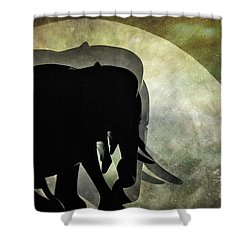 Elephants On Moonlight Walk 2 Shower Curtain by Kaye Menner