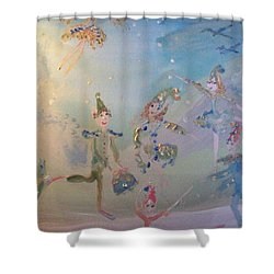 Shower Curtain featuring the painting Elf The Musical by Judith Desrosiers