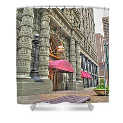 Shower Curtain featuring the photograph Ellicott Square Building And Hsbc by Michael Frank Jr