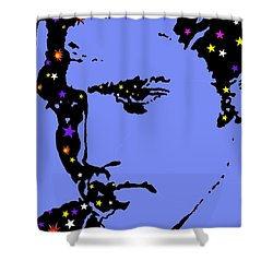 Elvis Feeling Blue Shower Curtain by Robert Margetts