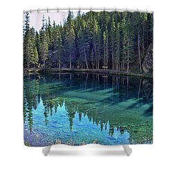 Emerald Mountain Pond Shower Curtain by Jo-Anne Gazo-McKim