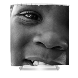 Emery Smile Shower Curtain by Sally Bauer