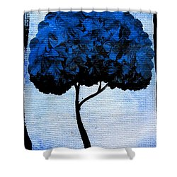 Shower Curtain featuring the painting Emily's Trees Blue by Oddball Art Co by Lizzy Love