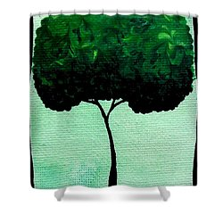 Shower Curtain featuring the painting Emily's Trees Green by Oddball Art Co by Lizzy Love