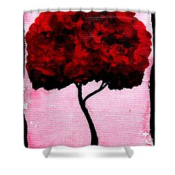 Emily's Trees Red Shower Curtain by Lizzy Love of Oddball Art Co