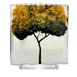 Shower Curtain featuring the painting Emily's Trees Yellow by Oddball Art Co by Lizzy Love