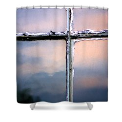 Empty Cross On The Window Of An Old Church Shower Curtain