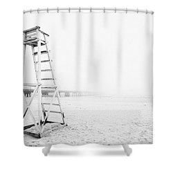 Empty Life Guard Tower 2 Shower Curtain by Skip Nall