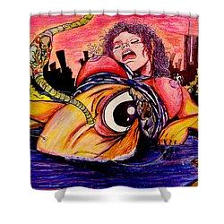 Shower Curtain featuring the painting En El Bano De Soledad by eVol  i