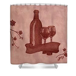 Enjoying Red Wine  Painting With Red Wine Shower Curtain by Georgeta  Blanaru
