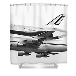 Enterprise Shuttle Nyc -black And White  Shower Curtain by Regina Geoghan