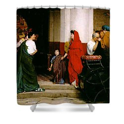 Entrance To A Roman Theatre Shower Curtain by Sir Lawrence Alma-Tadema