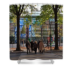 Entrance To Musee Branly In Paris In Autumn Shower Curtain by Louise Heusinkveld