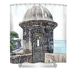 Entrance To Sentry Tower Castillo San Felipe Del Morro Fortress San Juan Puerto Rico Colored Pencil Shower Curtain by Shawn O'Brien