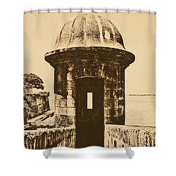 Entrance To Sentry Tower Castillo San Felipe Del Morro Fortress San Juan Puerto Rico Rustic Shower Curtain by Shawn O'Brien