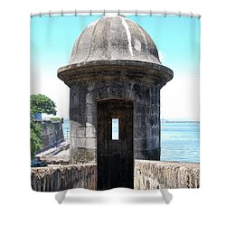 Entrance To Sentry Tower Castillo San Felipe Del Morro Fortress San Juan Puerto Rico Shower Curtain by Shawn O'Brien
