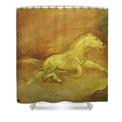 Shower Curtain featuring the painting Escaping The Flames by George Pedro