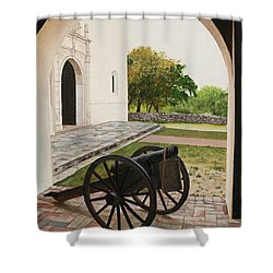 Espiritu Santo Mission Cannon Shower Curtain