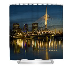 Esplanade Bridge Over Red River Shower Curtain by Mike Grandmailson