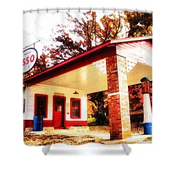 Shower Curtain featuring the painting Esso Filling Station by Lynne Jenkins