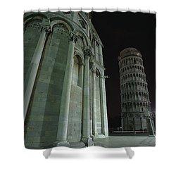 Ethereal Moonlight Scene Of Duomo Santa Shower Curtain by Carson Ganci