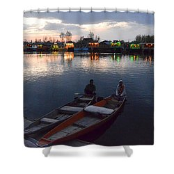 Evening On Dal Lake Shower Curtain by Fotosas Photography