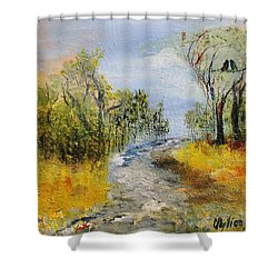 Shower Curtain featuring the painting Evening Romance by Evelina Popilian