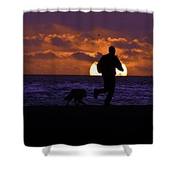 Shower Curtain featuring the photograph Evening Run On The Beach by Clayton Bruster