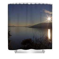 evening sun over the Lake Maggiore Shower Curtain by Joana Kruse