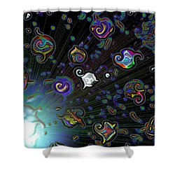 Shower Curtain featuring the digital art Exploding Star by Alec Drake