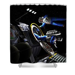 Explorers In Space Suits Exit An Shower Curtain by Walter Myers