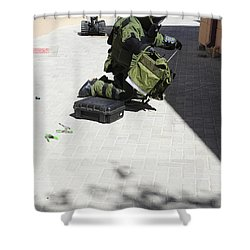 Explosive Ordnance Disposal Technician Shower Curtain by Stocktrek Images