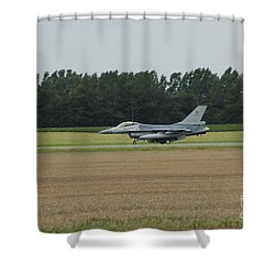 F-16 Of The Belgian Air Force Ready Shower Curtain by Luc De Jaeger