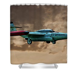 F-89 Scorpion Shower Curtain by Tommy Anderson