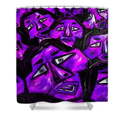 Faces - Purple Shower Curtain by Karen Elzinga