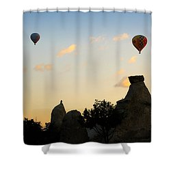 Fairy Chimneys And Balloons Shower Curtain by RicardMN Photography