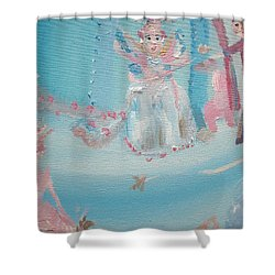 Shower Curtain featuring the painting Fairy Godmother Convention by Judith Desrosiers