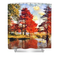 Fall At Swan Lake Shower Curtain by Jai Johnson