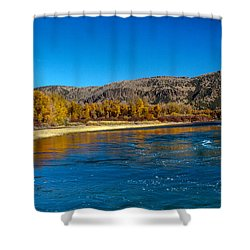 Fall Colors On The Snake River Shower Curtain by Robert Bales