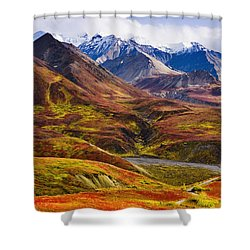 Fall Colours And Alaska Range, Denali Shower Curtain by Yves Marcoux