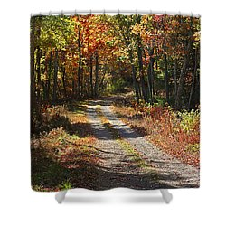 Fall On The Wyrick Trail Shower Curtain by Denise Romano