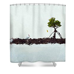 Falling Mangrove Leaf Shower Curtain