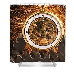 Fancy Pocketwatch On Gears Shower Curtain by Garry Gay