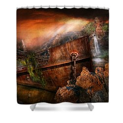Fantasy - Ship Wrecked Shower Curtain by Mike Savad