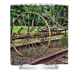 Farm - Horse-drawn Combine Shower Curtain by Paul Ward