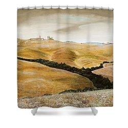 Farm On Hill - Tuscany Shower Curtain by Trevor Neal